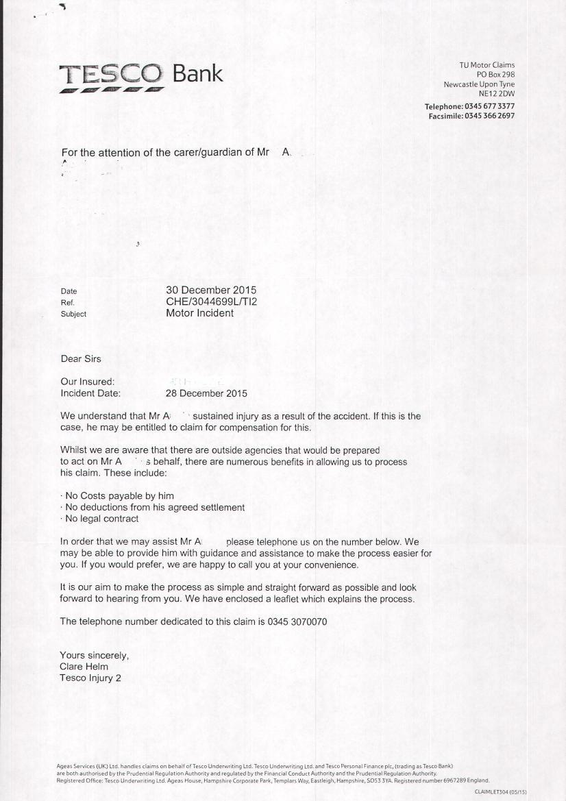 Sample Letter From Tesco Bank